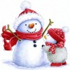 Christmas Snow Man and little Penguin Paint by Diamond Painting