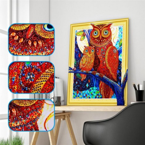 Artistic Owl Family - Special Diamond Painting