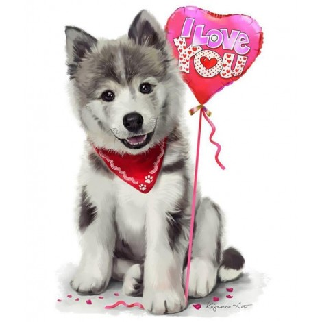 Dreamy Puppy with heart Balloon