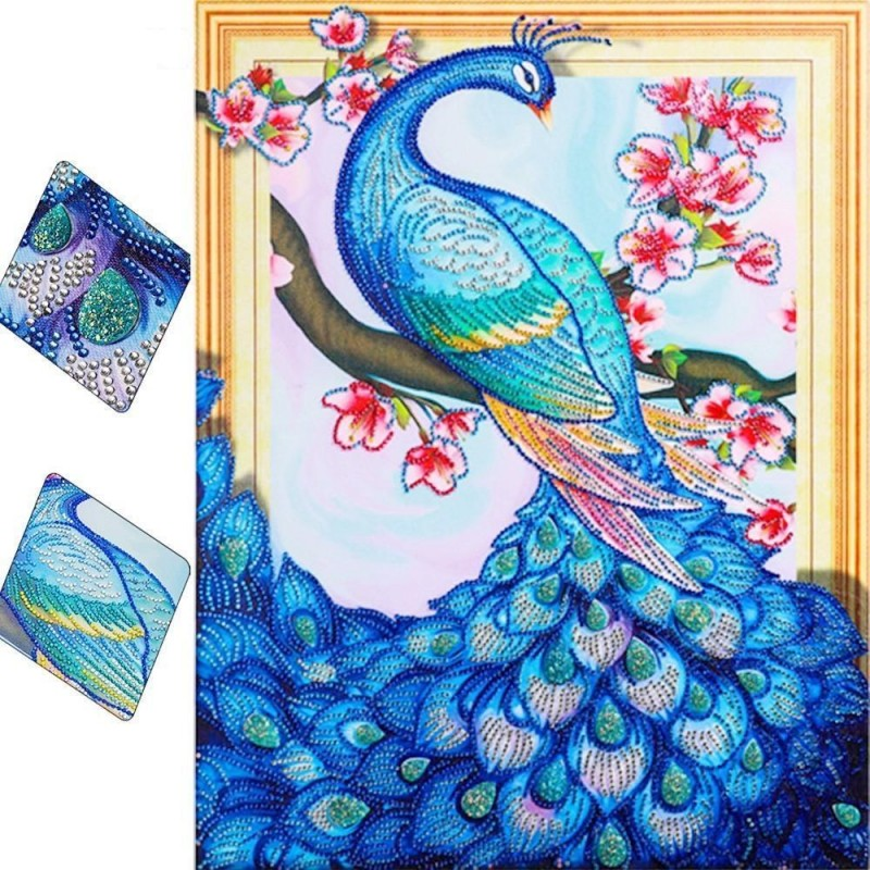 Blue Peacock and Flo...