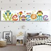 Colorful Welcome Sign with Cute Owls Painting with Diamonds