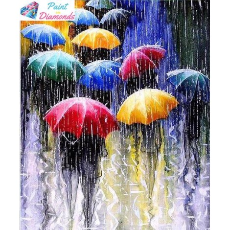 Walking in the Rain with Colorful Umbrellas